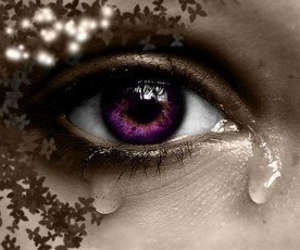eye, purple, and tear image