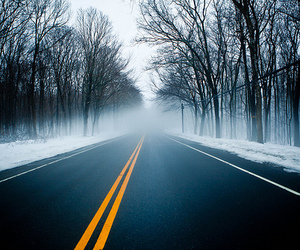 road, snow, and photography image
