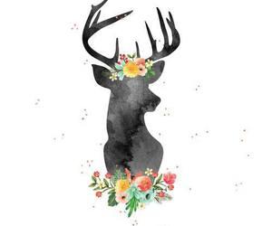 deer, flowers, and art image