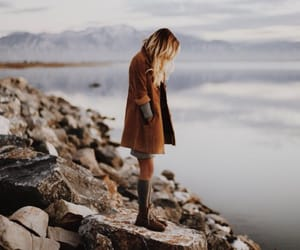 girl, sea, and nature image