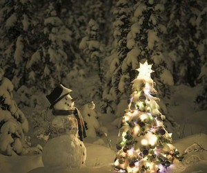 christmas, snow, and snowman image