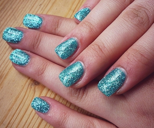 blue, glitter, and hand image
