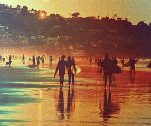 beach, surf, and sunset image