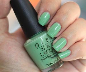 girl, nail polish, and green image