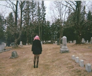 black, cemetery, and pink hair image