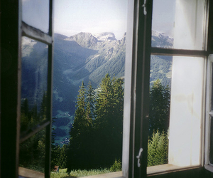 window, nature, and mountains image
