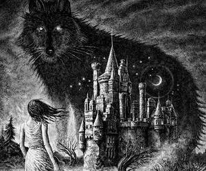wolf, castle, and Dream image