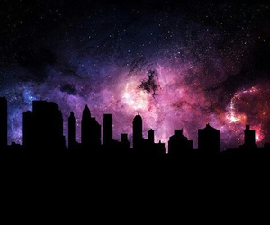 galaxy, city, and sky image