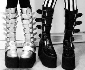 boots, goth, and black and white image