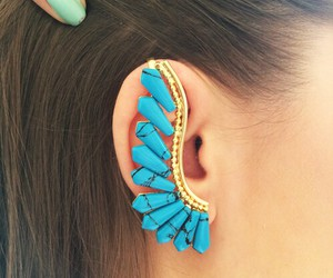 blue, fashion, and ear rings image