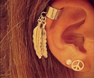 earrings, peace, and ear image