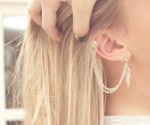 hair, earrings, and blonde image