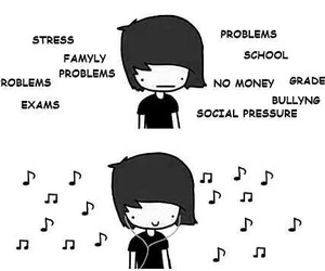 music, problem, and stress image