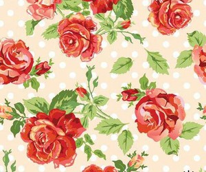 background, flowers, and polka dots image