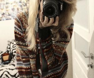 winter, camera, and girl image