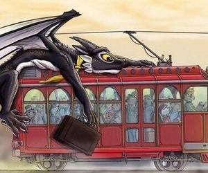 dragon, train, and cute image