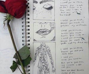 drawings, letters, and lips image