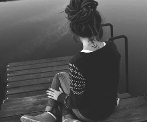 girl, black and white, and tattoo image