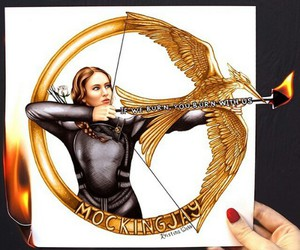 mockingjay, drawing, and katniss image