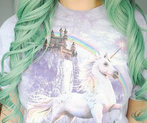 hair, unicorn, and green image