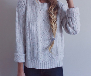 braid, sweater, and gray image