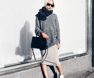 girl, grey, and outfit image