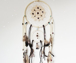 hippie, feathers, and white dreamcatcher image
