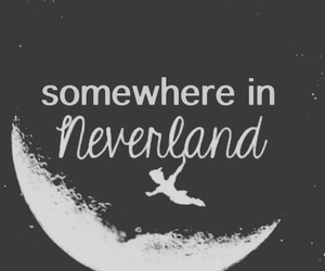 neverland, moon, and peter pan image