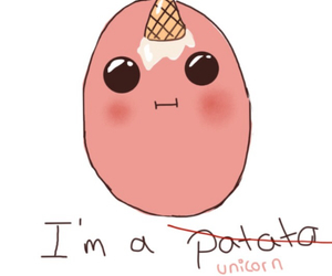 unicorn, potato, and funny image