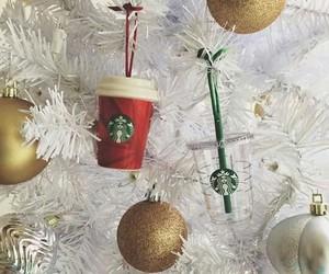 christmas, starbucks, and gold image