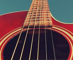 guitar, red, and sky image