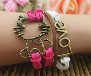 bracelet, pink, and accsessories image