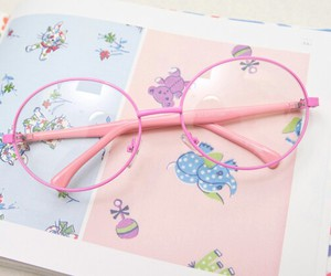 cute, glasses, and pink image