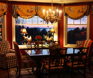 dining room, dusk, and furniture image
