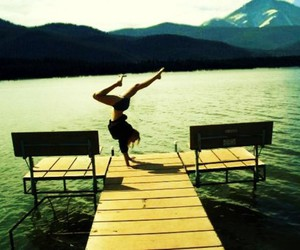 dock, girl, and handstand image