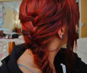 hair, girl, and red image