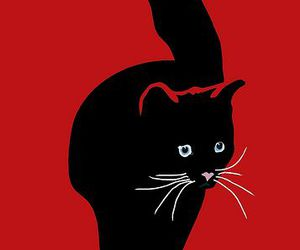 cat, illustration, and red and black image