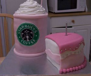 cake, starbucks, and pink image