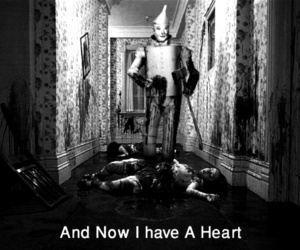 heart, black and white, and Oz image