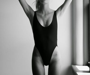 black and white, model, and body image