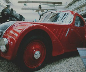 car, red, and old style image