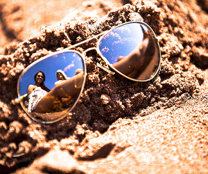 girl, beach, and sunglasses image