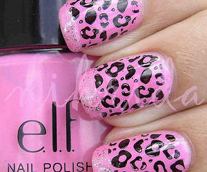 leopard, nails, and pink image