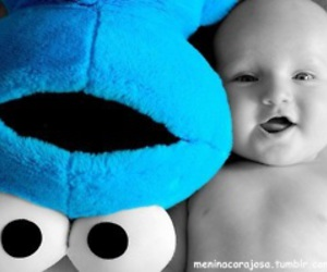 baby, blue, and cookie monster image
