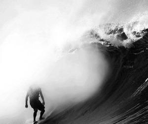 black & white, pretty, and wave image