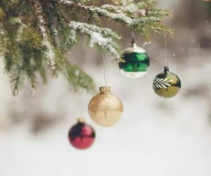 christmas, ornaments, and snow image
