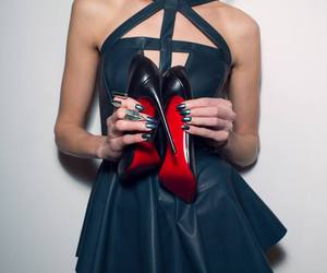 louboutin, shoes, and dress image