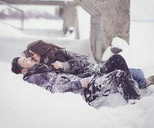 couple, winter wonderland, and love image