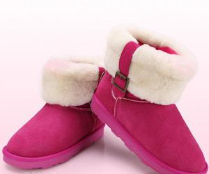 snow boots, rose faux, and fur metal buckle image