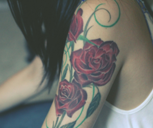 tattoo, girl, and rose image